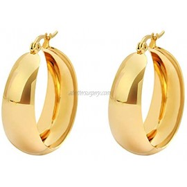 Edforce Stainless Steel 18K Gold Plated Lead-free Hypoallergenic Wide Large Rounded Hoop Earrings with Click-Top