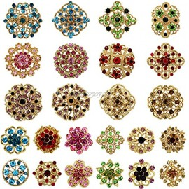 Lot 24pc Mixed Color Rhinestone Crystal Flower Brooches Pins